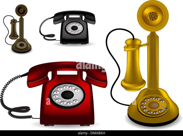 Retro telephone - vector illustration - Stock-Bilder