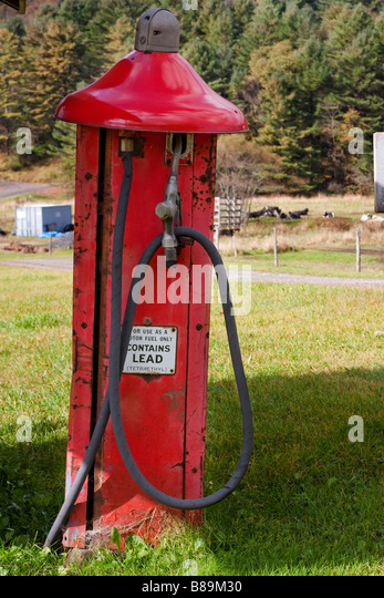 An old gas pump near Crossbrook Vermont USA October 9 2008 RF - Stock Image