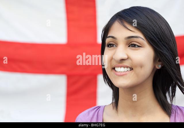 Teenage girl and english flag - Stock Image