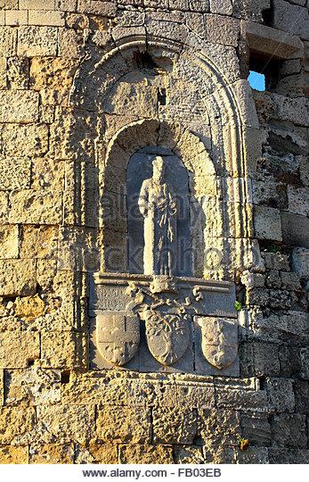 Architectural historic detail, old town in Rhodes, Dodecanese Islands, Greece - Stock-Bilder