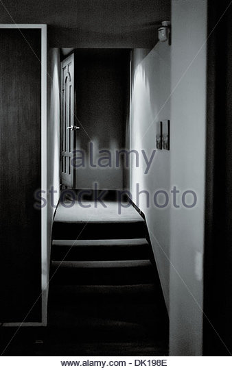 On open doorway on the landing a 'Business Cafe' the South Korean city of Chungju in the North Chungcheong - Stock Image