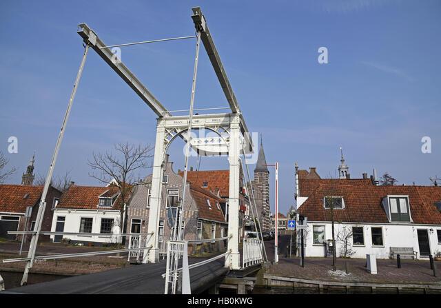 Baanbrug, bridge, Edam, The Netherlands - Stock Image