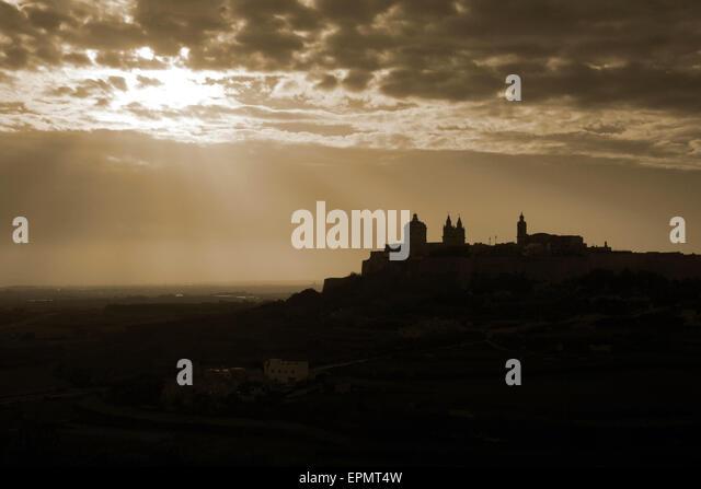 Mdina in Malta, a Mediterranean travel and tourism destination. Photo edited for sepia effect. - Stock-Bilder