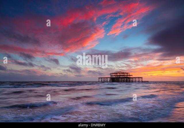 Brighton West Pier at Sunset, Sussex, UK. Long Exposure - Stock Image