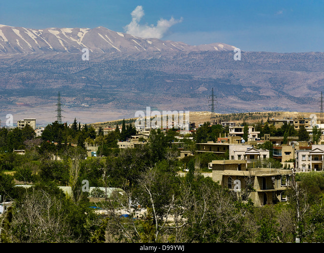 Baalbek with Mount Lebanon, Lebanon, Middle East - Stock Image