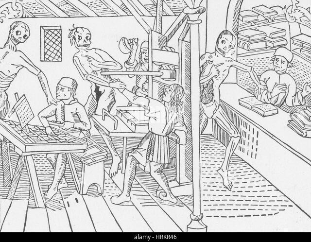 Death attacks Print Shop, Danse Macabre, 1499 - Stock Image