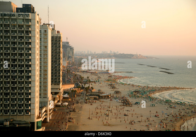 View over the skyline and beaches of Tel Aviv, Israel, Middle East - Stock Image