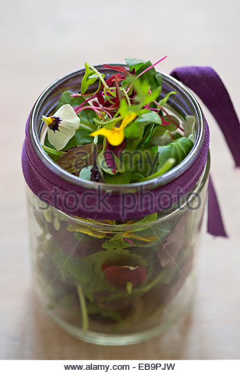 Mixed Lettuce Leaves and Edible Flowers - Stock Image
