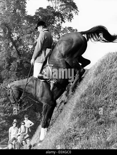 Ted Williams competing in the British Show Jumping Derby - Stock Image