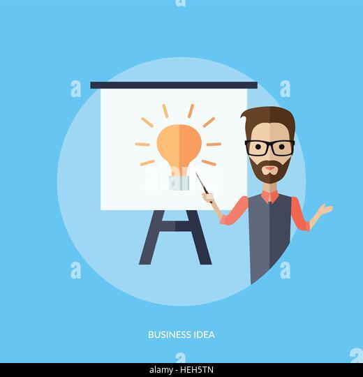 Businessman Presentation Business Idea. Businessman presentation business idea. Young adult man with glasses and - Stock-Bilder
