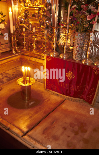 Israel Jerusalem Church of Holy Sepulcher Tomb of Jesus Christ Fourteenth 14th Station of the Cross - Stock Image