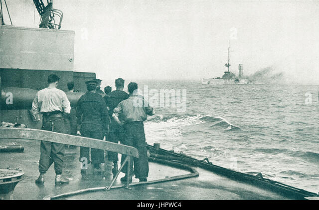 SMS Mainz destroyed at Heligoland, 1914 - Stock Image