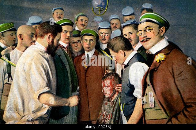 Heidelberg University Fencing Club. Dated 1908. Caption reads: 'Aus dem Heidelberger Studentenleben. Nach der - Stock Image