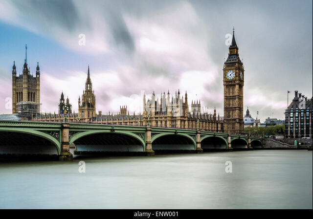 Westminster bridge over river Thames with Houses of Parliament and Big Ben in background. London, UK. - Stock Image
