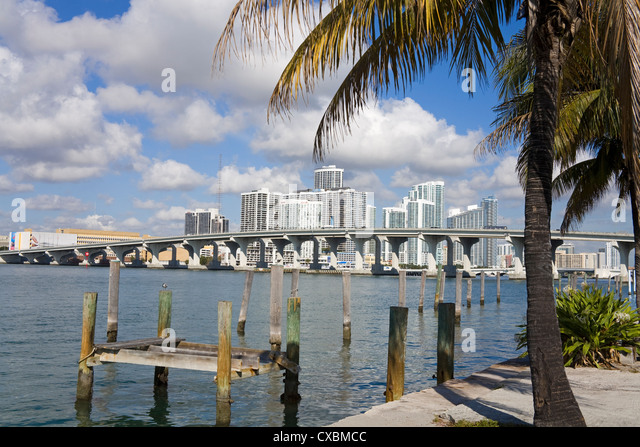 Miami skyline, Florida, United States of America, North America - Stock Image