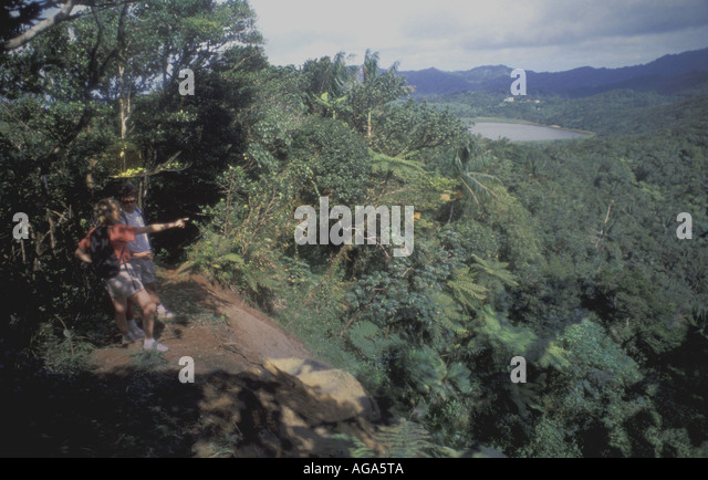 Grenada Hiking hikers couple Grand Etang National Park - Stock Image