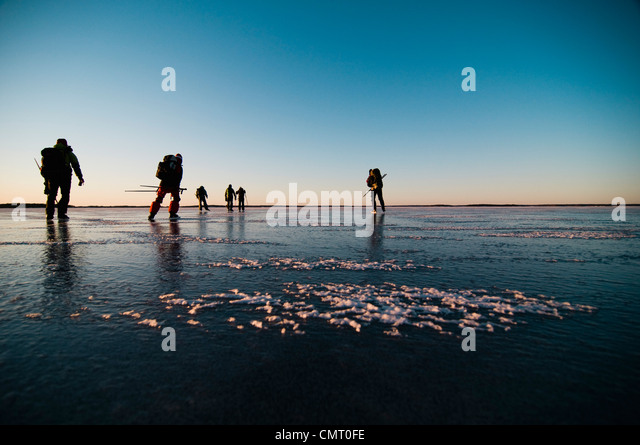 Medium group of people skating - Stock Image