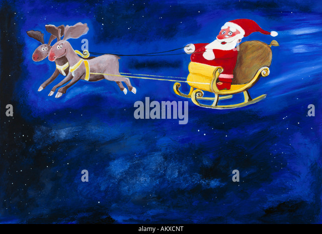 Santa Claus in his flying sledge with reindeer, illustration - Stock Image