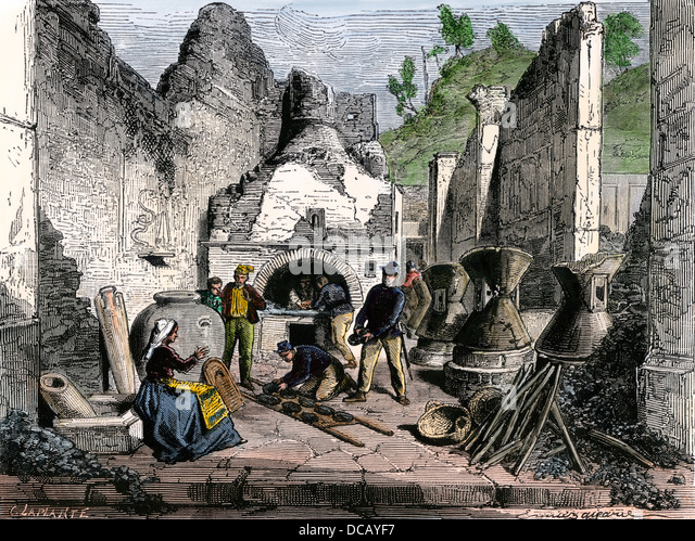 Archaeologists uncovering a bread-oven among the ruins of Pompeii, 1880s. - Stock Image