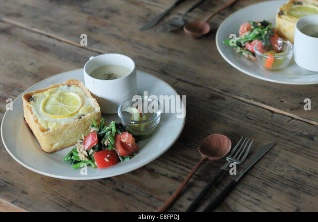 View of Lunch on table - Stock Image