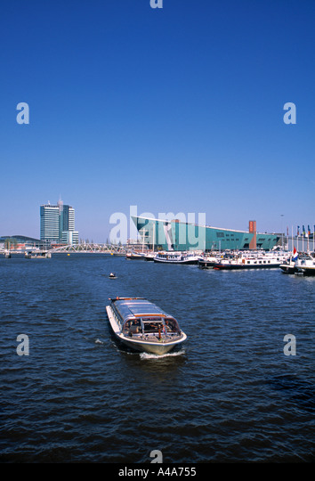 New Metropolis Museum and Oosterdok, Amsterdam, Holland - Stock Image