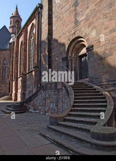 cathedral,rhine,stairs,myth,saw,worms,nibelungen - Stock Image