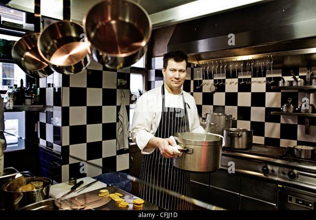 Oldrich Sahajdak, chef of La Degustation Boheme Bourgeoise Restaurant on Hastalska street in Prague, Czech Republic. - Stock Image