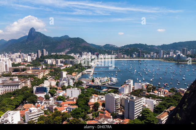 Rio de Janeiro in Brazil from cable car on Sugarloaf Mountain - Stock Image