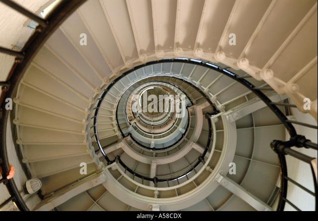 Winding stairway upwards swirl pattern design background Ponce De Leon Lighthouse Daytona Beach Florida fl - Stock Image