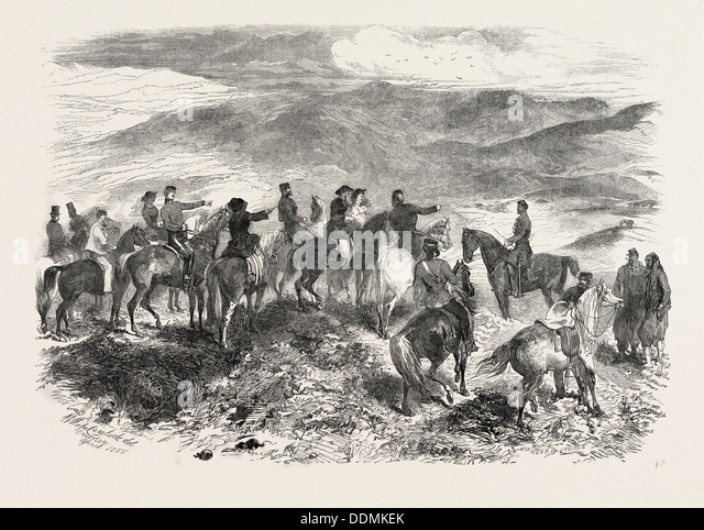 THE CRIMEAN WAR: THE HEROES OF BALACLAVA FIGHTING THEIR BATTLES OVER AGAIN, 1855 - Stock Image