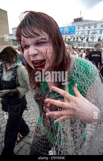 Josephine Bengtsberg as a Zombie at Stockholm Zombie Walk 2012 - Stock Image