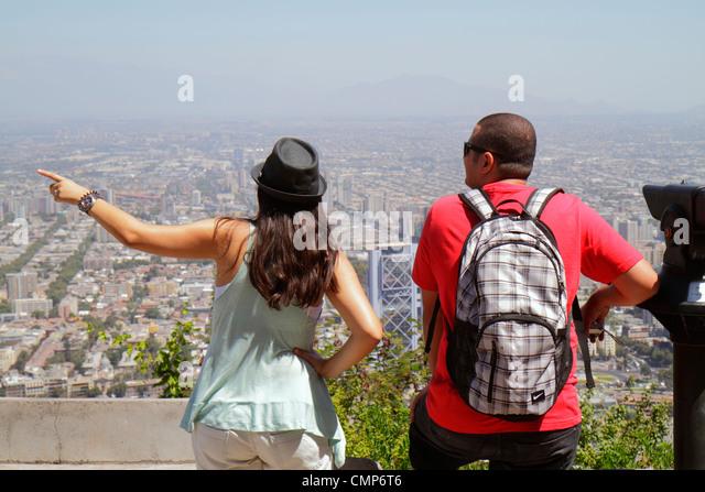 Santiago Chile Cerro San Cristobal Terraza Bellavista view from Providencia scenic overlook city skyline building - Stock Image