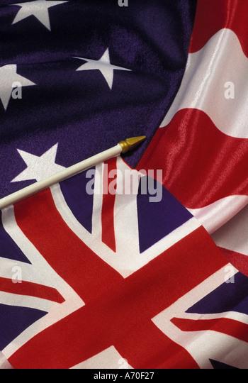 Union jack UK flag and stars and stripes US flag - Stock Image