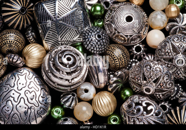 Arts and crafts beading stitching sewing postcard backdrop - Stock Image