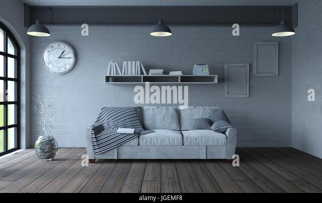 3d render of sofa in modern apartment setting - Stock Image