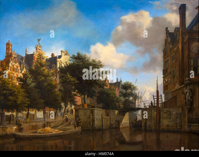 Amsterdam City View with Houses on the Herengracht and the old Haarlemmersluis, by Jan van der Heyden, circa 1670, - Stock Image