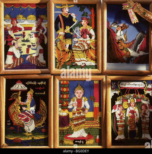 Collection of Folk Paintings on glass showing Burmese Nats (spirits), in Alley Market in Bagan (Pagan), Myanmar - Stock-Bilder
