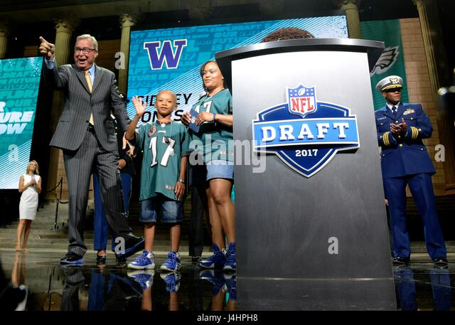 Former professional NFL football player Ron Jaworski announces the Philadelphia Eagles 2017 NFL Draft picks April - Stock Image