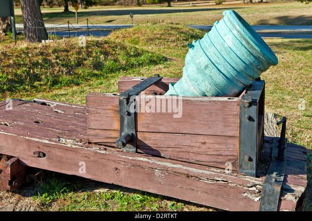 Mortar at Yorktown Historic Battlefield, Yorktown, Virginia - Stock Image