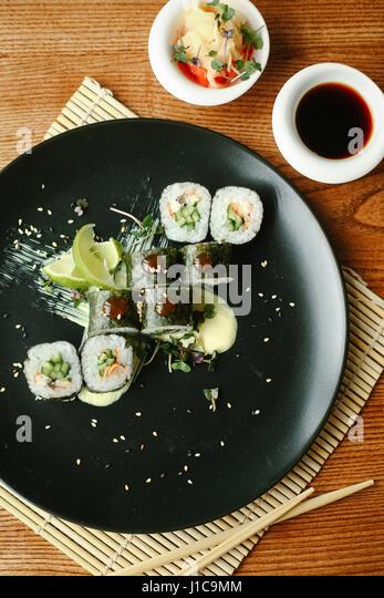 Sushi on plate - Stock Image