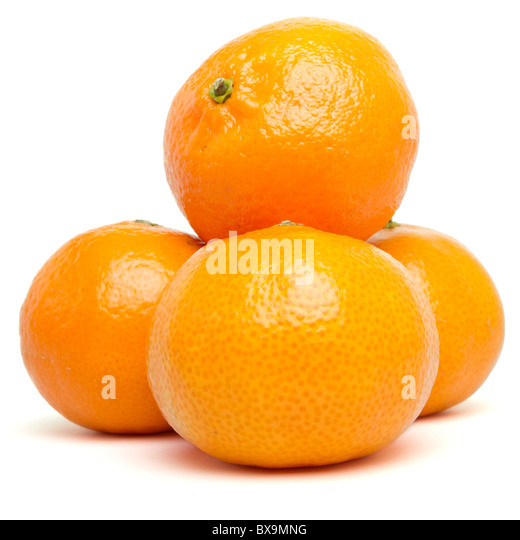 Clementine's from low perspective isolated on white. - Stock Image