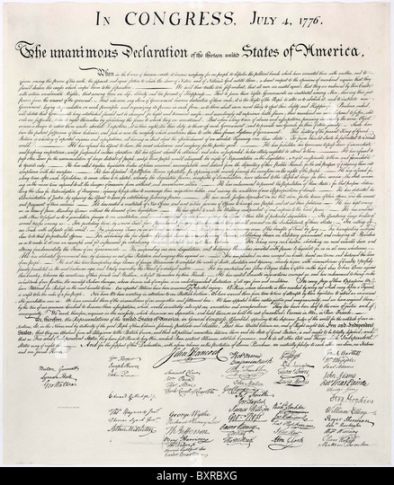 Copy of the Declaration of Independence. - Stock Image