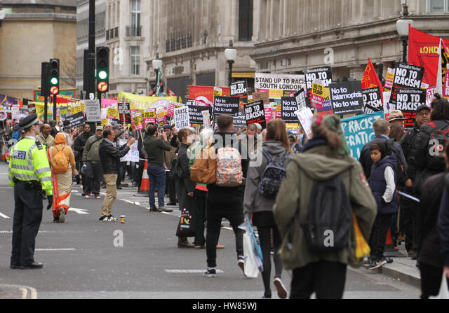 London, UK. March 18, 2017: Thousands of demonstrators , participate in the Stand Up To Racism demonstration for - Stock Image