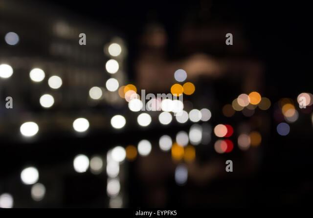 city lights at night -bokeh/ blur - Stock Image