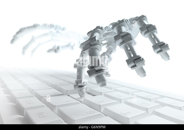 Robot typing on a computer keyboard - automation and AI research concept 3d illustration - Stock-Bilder