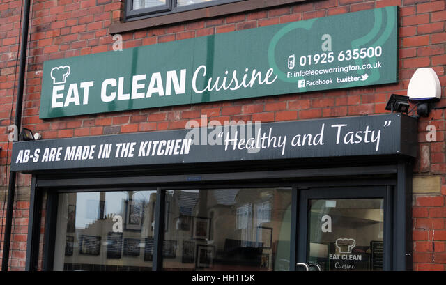 Eat Clean Craze Cafe,Warrington,Cheshire,England,UK - Eat Clean Cuisine Latchford - Abs are made in the kitchen - Stock Image