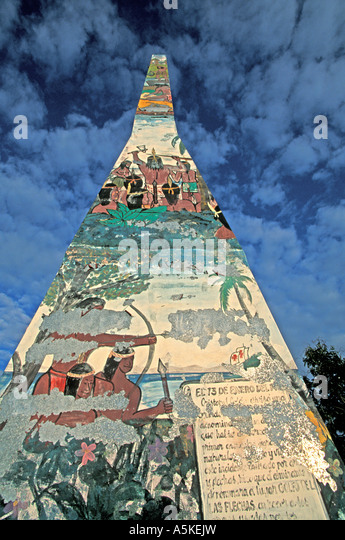 Samana Peninsula historic monument Taino Indians attacking Columbus - Stock Image