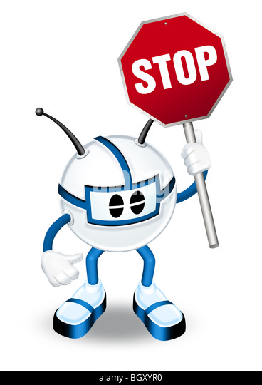 3d man with stop sign illustration - Stock Image