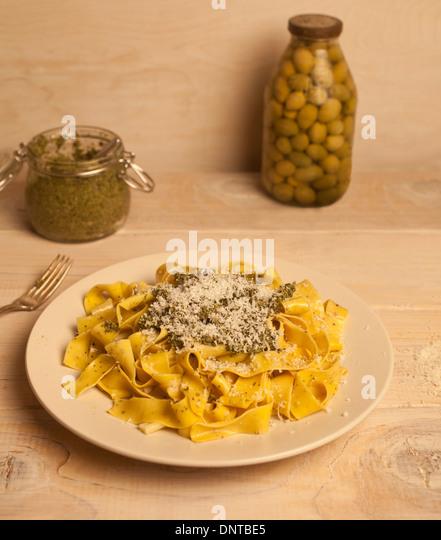 Pesto pasta - Stock Image
