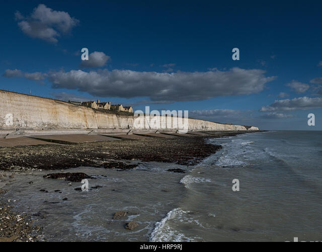 Roedean School stands on top of white cliffs where the South Downs meet the sea near Brighton Marina, East Sussex, - Stock Image